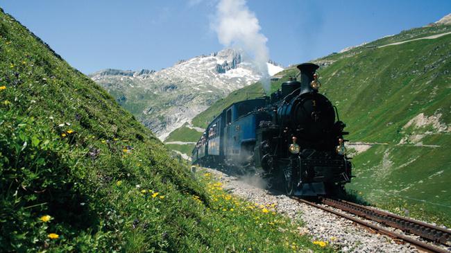Dampfbahn Furka-Bergstrecke zwischen Gletsch und Muttbach, Walli